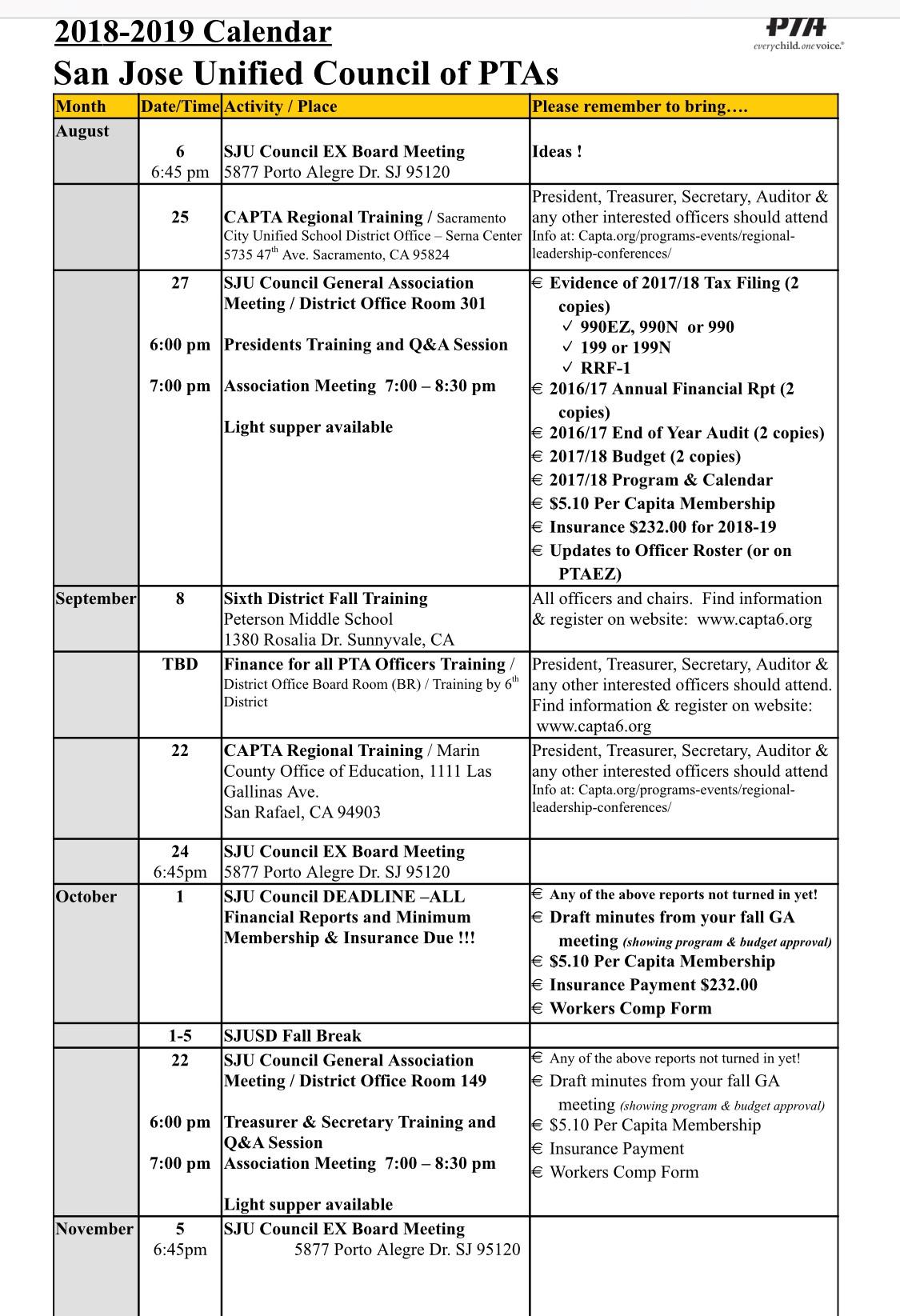 Sju Calendar.Calendar San Jose Unified Council Of Ptas